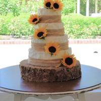 Sunflower Rustic Wedding Cake & Cupcakes The cake is a 4 tier chocolate and vanilla cake with creme bouquet buttercream and chocolate ganache filling. The cupcakes were vanilla...