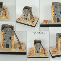 Tradinional Mani Tower Under Construction Cake... This is a cake for a friend who builds traditional stone tower houses at MANI region, a wonderful place in GREECE, The towers of Mani in...