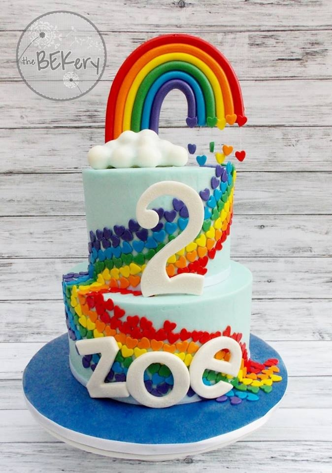 "Rainbow Love This is one of my favorite cakes ever! This was made for a precious little girl who is a ""rainbow baby."" (A baby born after a..."