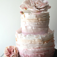 Frilly Cake Frilly fondant cake with gum paste peonies.