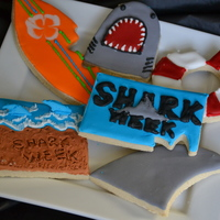 Shark Week Cookies fin, shark, shark week logo, beach scene, surfboard, lifesaver