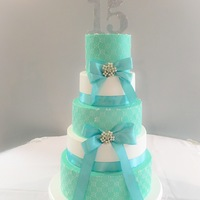 Quinceanera Cake Beautiful Tiffany Blue color Quinceanera Cake, I was so happy I was able to match the color perfect in buttercream :)
