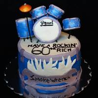 Pearl Drum Set I made this cake for my father in law's 60th birthday. The drums were shaped with rice crispy treats and covered in fondant. The...
