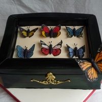 Butterfly Box Fondant covered chocolate cake with wafer paper butterflies