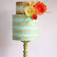 Spring Gale Cake The cake is decorated with weaved chevron wafer paper and wafer paper flower