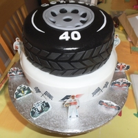 40Th F1 Theme Cake Chocolate sponge with fudge chocolate icing inside