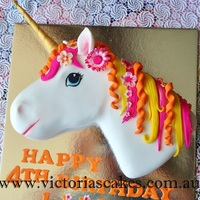 3D Unicorn Head Birthday Cake 3D Unicorn head birthday cake. For more pictures visit my facebook page https://www.facebook.com/victoriascakes.com.au