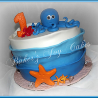 Ombre Octopus Cake   Inspired by Alexa A here on CC. My client loved the cake on pinterest and asked me to do it. I added a few extras to change it.