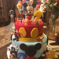 Mickey Mouse Birthday Cake 2 Tier Chochlate and white with Vanilla BC filling. Covered in Fondanat