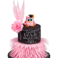 Chalkboard And Wafer Feather Owl Graduation This cake was for my friend Dawn, who graduated last week with a sports science degree!My first owl, I loved making it, especially the...