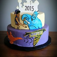 Aladdin Graduation Cake A mom ordered a graduation cake for her son and said that he had liked Aladdin a lot, so could I make an Aladdin graduation cake. The high...
