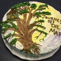 Vbs Tree House Cake 2015 This 16 inch round Funfetti cake is to serve 80+ people at Family night at church. Butttercream frosting with free hand cut fondant tree.