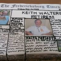 Newspaper Retirement Cake   WASC cake with BC. All pictures were actual photos, laminated and the newspaper name printed and laminated for time.
