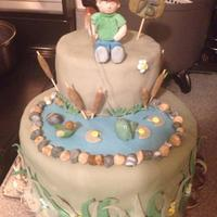 Fishing 75Th Birthday Cake Two-tier fishing cake with fondant and gumpaste accents