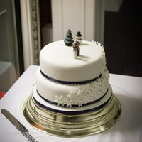 Winter Snowflake Wedding Cake Fruit cake with navy ribbon and diamante rope