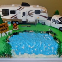 Truck And 5Th Wheel Cake Truck and 5th Wheel Cake for Grandson's 7th Birthday. Chocolate cake with chocolate cookie dough Filling , covered in crusting...