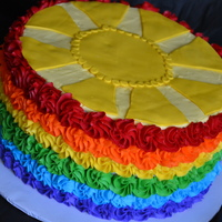 Buttercream Rainbow Cake With Sun rainbow colors out of buttercream with fondant sun for baby shower