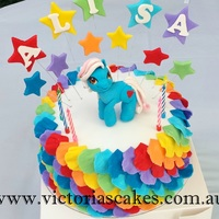 My Little Pony Rainbow Cake My little pony cake with rainbow rufflesVisit my facebook page for more pictures https://www.facebook.com/victoriascakes.com.au