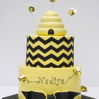 Bumble Bee Cake Bees bow are gumpaste
