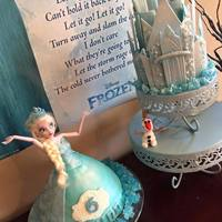 Frozen Elsa And Castle Cake   2-part Frozen cake with Elsa and her ice castle.
