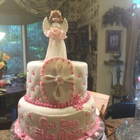 Christening Cake 2 Tier Christing cake, white cake with strawberry filling