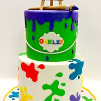 Paint Party  Happy 1st birthday, Oaklie!! Butter pecan cake with butter pecan buttercream filling and vanilla bean cake filled with buttercream. Cake is...
