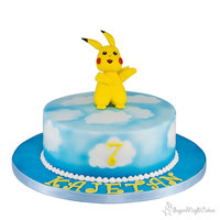 "Pikachu Small 8"" cake for my sons best friend Kajetan......hes a huge pikachu fan!The airbrushed clouds were very quick to create!"