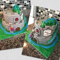 Castle Cake With Dragon And Knight Fondant-covered castle cake for a medieval birthday party...yellow cake with vanilla buttercream filling