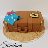 Suitcase / Travel Cake Travel inspired cake for a traveler heading to Australia