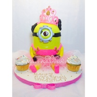 Princess Minion Cake A girly Princess Minion cake with tutu and tiara.