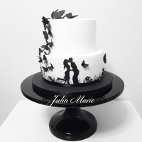 Black & White Engagement Cake A black and white silhouette engagement cake I made for my brother and his fiancé.