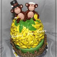 Monkey Cake All edible. Hand made characters and bananas and hand painted