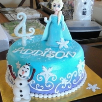 Frozen Cake Choc. Cake, cream icing, spray with blue & purple. Topper made of fondant gum paste.