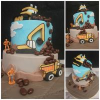 Diggers ! Two tier construction cake for my three year old grandson. Diggers, Jcb and dumper truck !