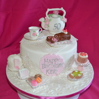 My Sisters 50Th Birthday Cake My Sister was having a high Tea at a hotel for her 50th birthday and I decided to make her a cake with some elements of a high Tea and a...