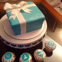 Tiffany Box Cake And Cupcakes Tiffany Box Cake and Cupcakes for a Leslie's bridal shower