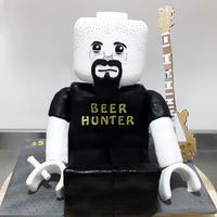 Lego Man Cake   customized lego man cake for a local band's guitarist.