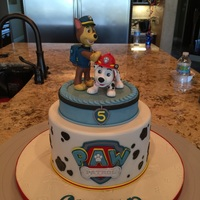 Paw Patrol Birthday Cake Is made this cake for my sons 5th birthday. The figures are made out of fondant with tylose. Cake is chocolate with chocolate and...