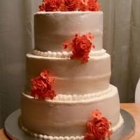 Coral Wedding Cake coral gum paste rose bouquet