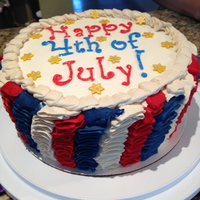 Happy Fourth Of July Flag cake inside.
