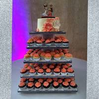 "Coral Cupcake Wedding   This cupcake tower and 8"" cake were made for a coral themed wedding."