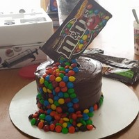 M&m Cake   chocolate cake chocolate buttercream icing with cholcolate and m&m's in the middle