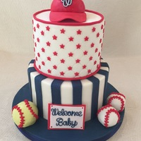 "Baseball Baby Shower Cake  Baby shower Cake, they aren't sure of the gender so wanted me to put the ""softball"" in there to represent a girl :)All..."
