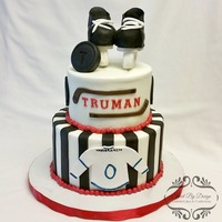"Hockey Baby Shower 6"" and 8"" Chocolate Cookies & Cream cake filled with Cookies & Cream buttercream and iced in Vanilla buttercream. Fondant..."