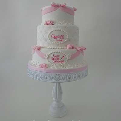 White And Pink First Communion Cake