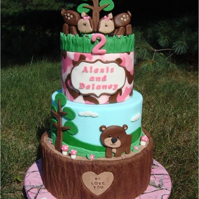 Pink Camo/woodland Themed Cake