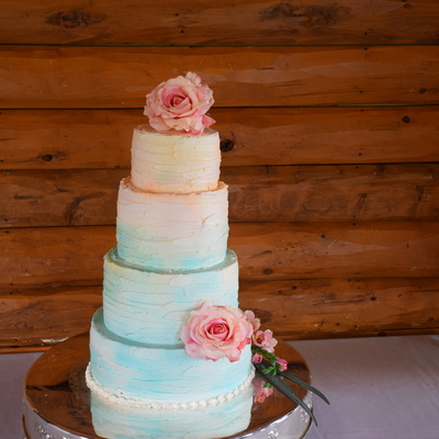 Airbrushed Wedding Cake Teal, Peach, Pink