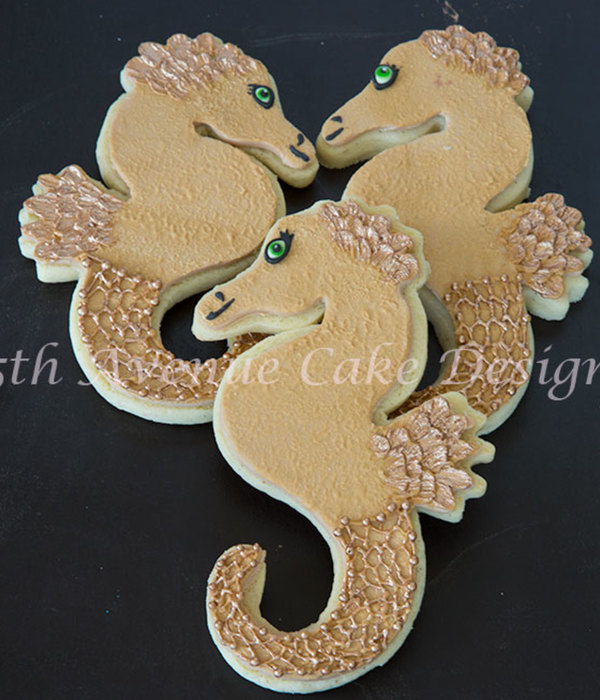 Seahorse Cookies With Royal Icing Scales