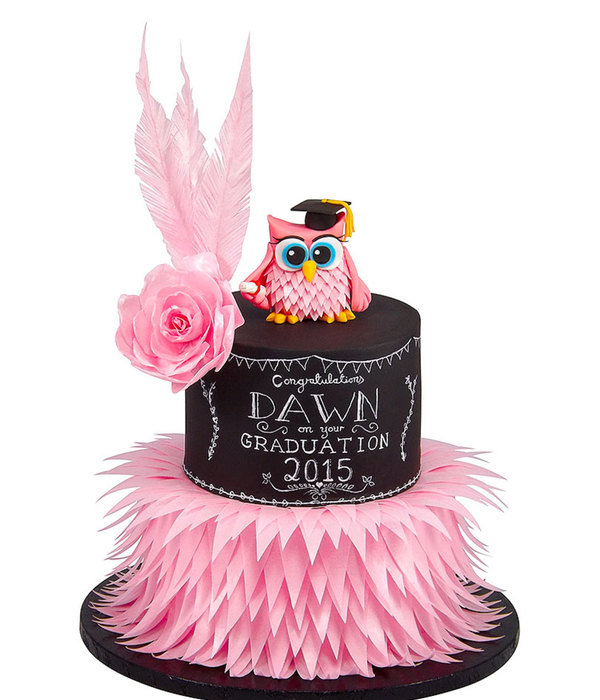 Chalkboard And Wafer Feather Owl Graduation
