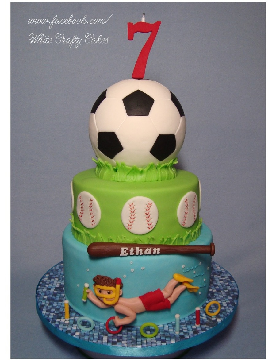 Soccer, Baseball And Swimming Cake on Cake Central
